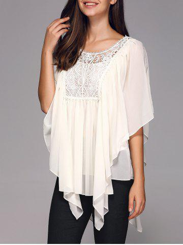 Latest Butterfly Sleeve Lace Patchwork Smock Blouse
