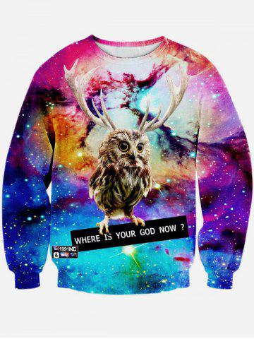 3D Print col rond manches longues Galaxy Sweatshirt Multicolore S