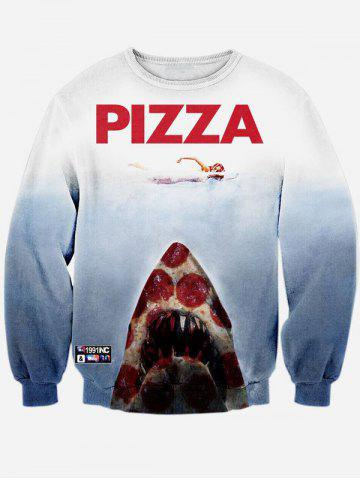 Trendy Long Sleeve Pizza Graphic Sweatshirt