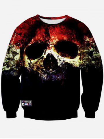 Discount Crew Neck 3D Horrific Skull Printed Sweatshirt BLACK XL