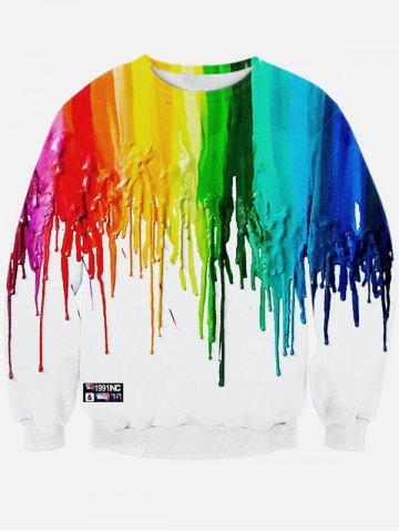 Online Colorful Paint Dripping Print Long Sleeve Sweatshirt WHITE XL