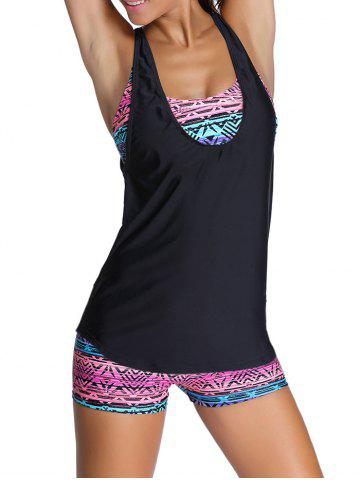 Tribal Print Criss-Cross Wire Free Three Piece Swimsuit - Pink - L