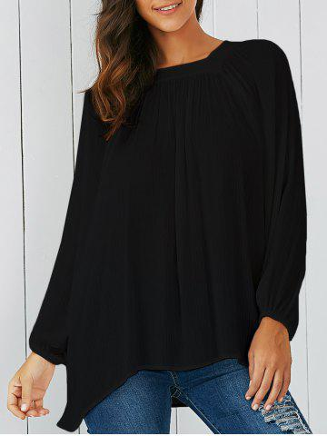 Lantern Sleeve Smock Blouse - Black - S