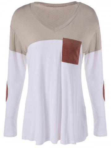 Outfits Color Block Single Pocket T-Shirt WHITE/BROWN XL