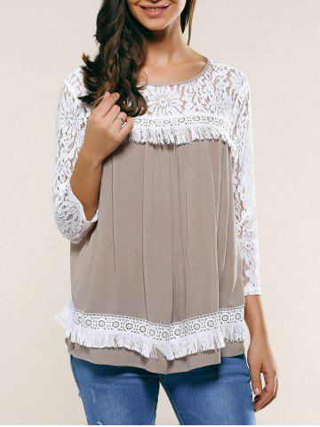 Store Lace Patchwork Fringed Blouse