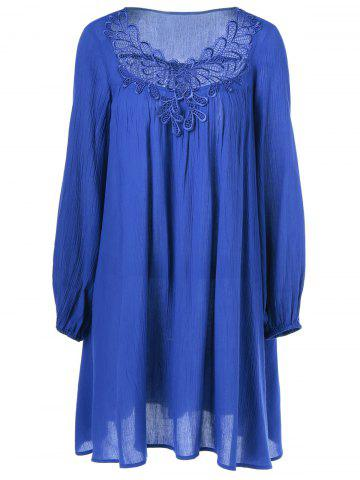 Buy Lace Splicing Peasant Dress
