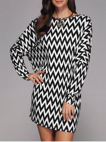 Discount Zigzag Print Batwing Sleeve Dress