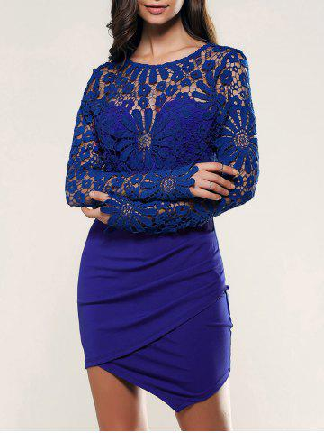 Outfits Long Sleeve Asymmetrical Lace Dress