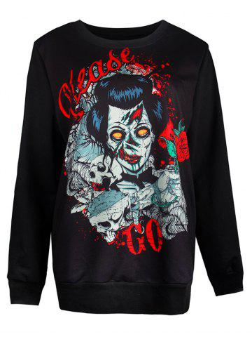 Fashion Ghost Print Pullover Loose Sweatshirt BLACK L