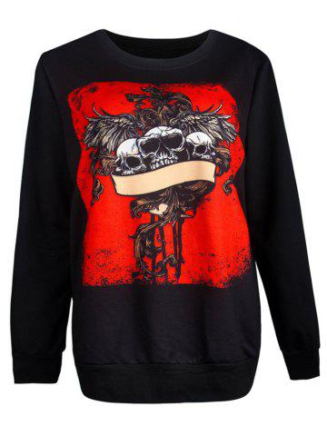 Outfit Ghost Skull Print Pullover Loose Sweatshirt