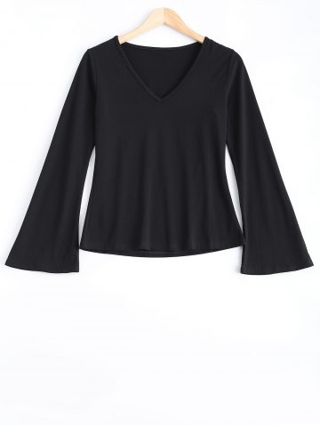 Outfit V-Neck Bell Sleeves Skinny T-Shirt