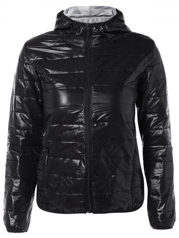 Chic Topstitching Hooded Quilted Winter Jacket BLACK S