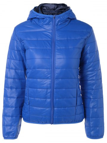 Sale Topstitching Hooded Quilted Winter Jacket BLUE L