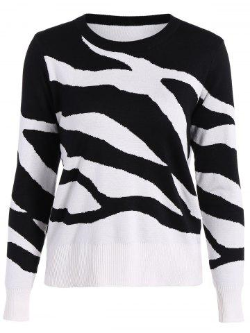 Fashion Two Toned Ribbed Hem Knitted Pullover WHITE/BLACK M