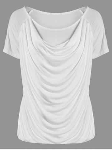 Fashion Ruched Plain Ruffled T-Shirt WHITE L