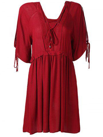 Outfits Hollow Out High Waist Tied-Up Chiffon Dress WINE RED L