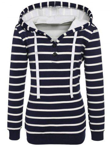 Shops Long Sleeves Striped Buttoned Hoodie