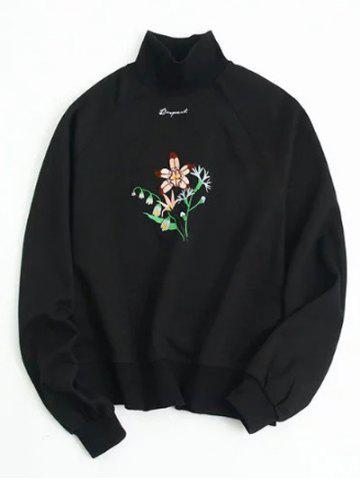 Discount Flower Embroidered Loose Sweatshirt BLACK ONE SIZE