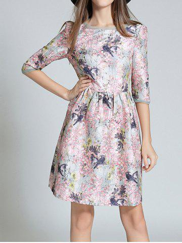 Fashion Floral Birds 3/4 Sleeve Dress