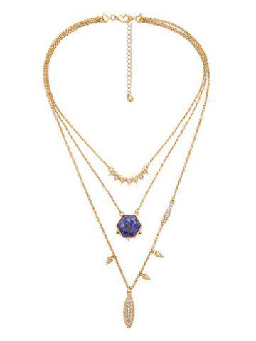 Outfit Faux Gem Layered Geometric Pendant Necklace