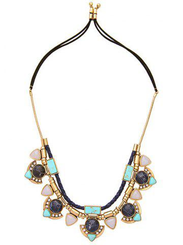 Chic Faux Turquoise Layered Geometric Pendant Necklace