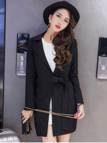 Fashion Long Tied Blazer with Pocket