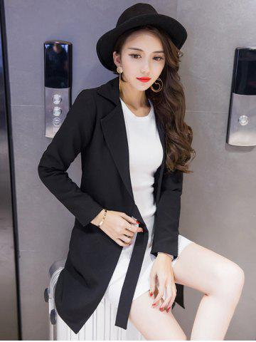Store Long Tied Blazer with Pocket - S BLACK Mobile