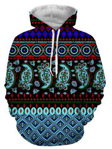 Cheap Hooded 3D Ethnic Style Geometric Print Long Sleeve Hoodie COLORMIX 3XL