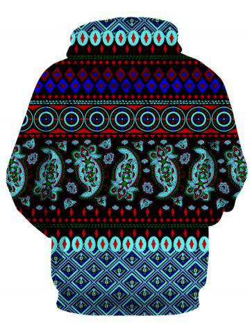 Online Hooded 3D Ethnic Style Geometric Print Long Sleeve Hoodie - 2XL COLORMIX Mobile