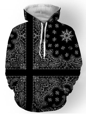 Fancy Hooded Paisley and Floral Printed Long Sleeve Hoodie