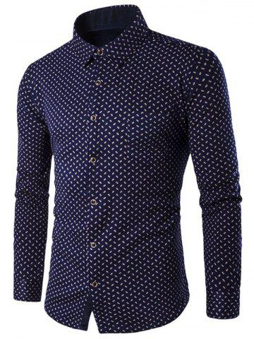 Store Fleece Lined Turn-down Collar Printed Shirt