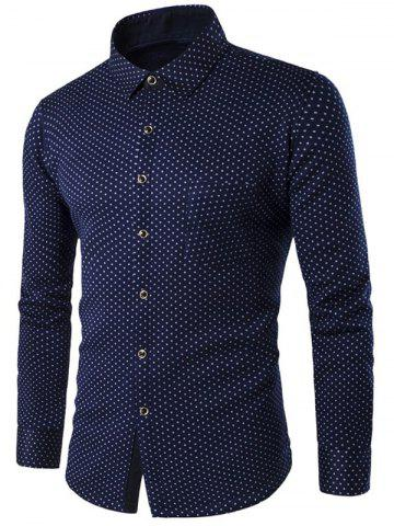 Fashion Turn-down Collar Fleece Lined Polka Dot Shirt