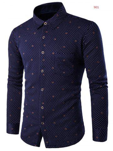 New Turn-down Collar Fleece Lined Polka Dot Print Shirt