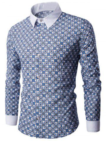 Affordable Tiny Floral Print Contrast Collar Button Up Shirt