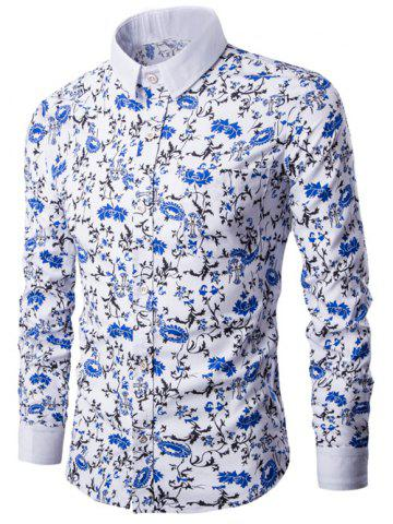 Latest Breast Pocket Button Up Floral Print Shirt