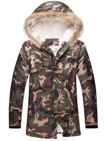Shop Camo Zippered Drawstring Waist Fur Hooded Sherpa Parkas