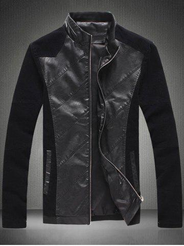 New Zip Up Sleeve Buttons Design Leather Insert Jacket BLACK 4XL
