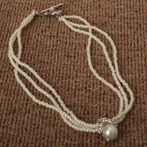 New Faux Pearl Layered Beaded Necklace - AS THE PICTURE  Mobile
