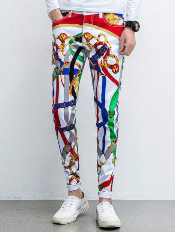 Store Five-Pocket Zipper Fly Printed Tapered Pants WHITE 31