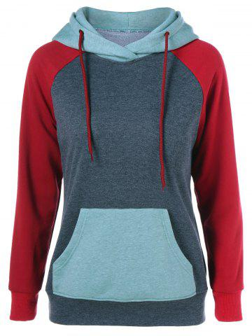 Store Raglan Sleeve Big Pocket Drawstring Hoodie