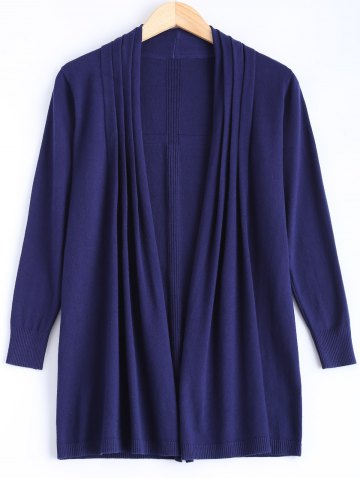 Affordable Collarless Ribbed Pleated Cardigan