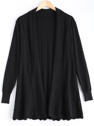 Shops Ribbed Ruched Loose-Fitting Cardigan