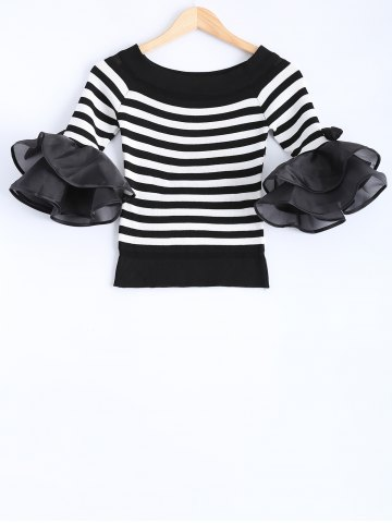 Fashion Bell Sleeve Bowknot Embellished Striped Knitwear