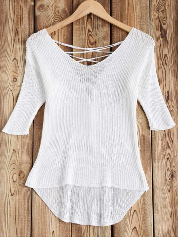 Shops Lace-Up Asymmetrical Hollow Out Knitwear