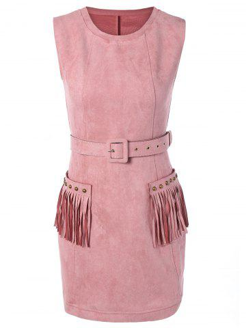 Trendy Suede Pocket Design Fringed Stud Embellished Dress