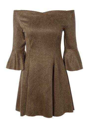 New Off The Shoulder Bell Sleeve Suede Dress