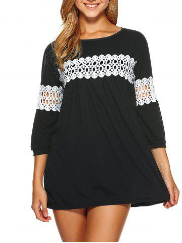 Chic Lace Insert Loose-Fitting Mini Dress BLACK M