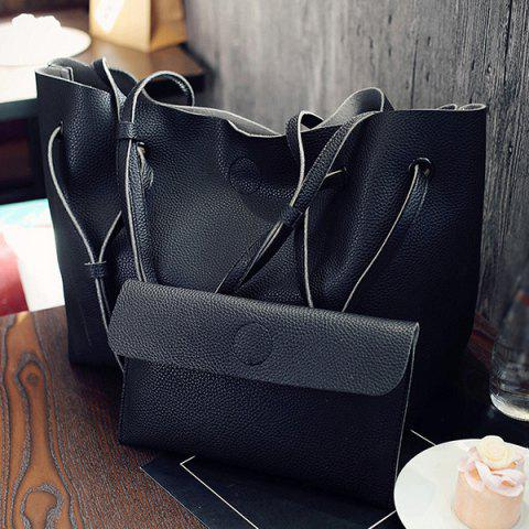 Chic Magnetic Textured Leather Shoulder Bag BLACK