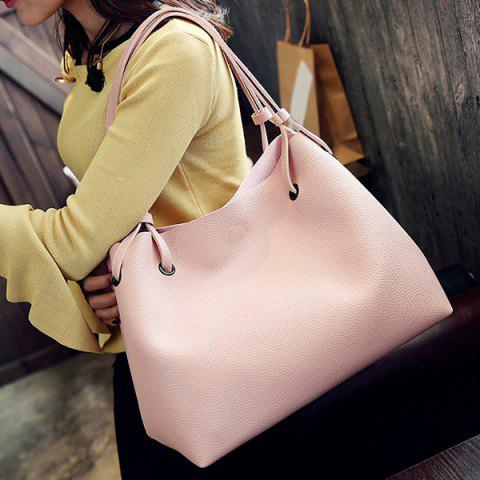 Outfits Magnetic Textured Leather Shoulder Bag - PINK  Mobile