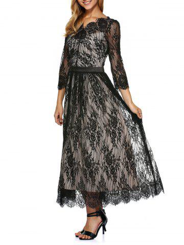 Lace Scalloped A Line Long Prom Dress - BLACK L